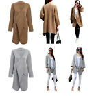 Women Spring Turn Down Collar Pure Color Cardigan Ladies Open Front Overcoat HOT