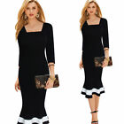 NEW Women Long Sleeve Bodycon Fishtail Ladies Cocktail Party Evening Dress 071b