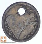1853 SEATED LIBERTY SILVER HALF DIME CONDITION: HOLE XB60