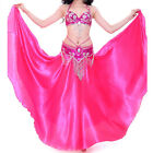 AU New Belly Dance Costumes Satin Long Skirt Full Circle Swing Skirt Dress