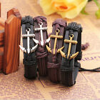 New Men Fashion Leather Anchor Wrap Wristband Cuff Punk Male Bangle Bracelet