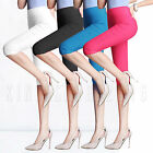 Women Cropped 3/4 Capri Length Leggings Casual Plain Slim Pants Skinny Trousers