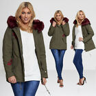 divadames Womens Patch Khaki Parka Coat-ROSETTA