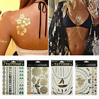 Gold Silver Metallic Flash Temporary Tattoos Sticker Body Art Waterproof Pattern