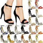 Womens Ladies Barely There High Heel Party Wedding Sandals Ankle Strappy Shoes