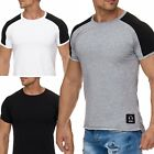 Herren T-Shirt Vokuhila Biker Music Patch Dirty Seam Oberteil Kurzarm Shirt Wow