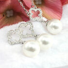 White Pearl Set Necklace/Earrings Silver Toned White Gold Filled Crystal
