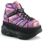 "DEMONIA NEP100/PNHG Womens Goth Punk Cyber 3"" Platform Pink Ankle Boots Shoes"