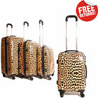 Leopard Animal Print Womens Suitcase Luggage Set of 3 Hard Shell 4 Wheel Spinner