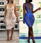 Women Sexy Spaghetti Strap Bodycon Print Mesh Clubwear Cocktail Party Dress