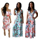 Women's Off-shoulder Floral Ruffle Evening Party Bodycon Mermaid Midi Dress