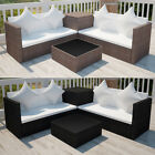 14 Piece Sofa Lounge Set Garden Outdoor Poly Rattan with Storage Box Brown/Black