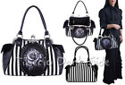 Restyle White Rose Print Cameo Black Stripes Faux Leather Nu Gothic Bag Handbag