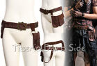 RQ-BL SP076 Brown Pirate 3 Pocket Bronze Buckle Key Steampunk Waist Bag Belt