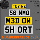 Stick on Number Plate short shorten cut down mini small UK Reflective Vinyl
