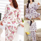 Stylish Womens Floral Print Full Length Pyjama Set Sleepwear Homewear Nightwear
