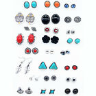 6 Pairs Fashion Punk Geometric Style Earrings Square Triangle Round Ear Studs