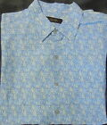 Tasso Elba Casual Short Sleeve Button Front Linen/Silk Blend Light Blue Shirt M