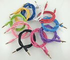 1M 3Ft 3.5MM Round Noodle Male To Male Car Auxiliary AUX Audio Cables Wholesales