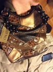 NWT BUENO COLLECTION ANIMAL PRINT PATCH Leather Bag BEADED HANDLE
