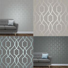 Fine Decor Apex Geometric Metallic Wallpaper Trellis 10m 4 Colours