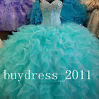 Turquoise Quinceanera Dresses Crystal Sweet 15 16 Party Evening Prom Ball Gowns