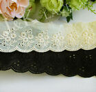 4.5 cm width  Light Champagne Yellow / Black Embroidery Cotton Lace Trim