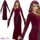 Womens Medieval Vampiress Adult Ladies Halloween Gothic Red Fancy Dress Costume