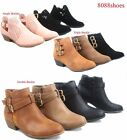 ladies shoes - Women's Buckles Almond Toe Low Heel Western Ankle Booties Shoes Size 5 - 10 NEW