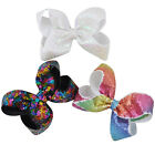 6  inch Girs Hair Bow Bowknot Grosgrai Sequin alligator Clips Hair Accessories