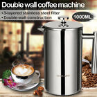 34oz/50oz French Press Stainless Steel Double-Wall Cafetiere Coffee Tea Maker cheap