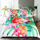 NEW Flamingo Bedding Set Tropical Plant Quilt Cover King Size Home Bed Flower