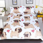 NEW Hippie Pug Bedding Set Queen Size Animal Cartoon Bed Set for Kids Cute Bulld