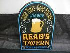 Old Vtg READS TAVERN COLD BEER SIGN Wall Bar Decor Man Cave Advertising