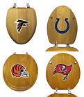 NFL Team Logo Theme Oak Finish Wood Round or Elongated Toilet Seat Cover Lid $119.88 USD on eBay