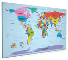World Map with Big Text for Kids Box Canvas and Poster Print (901)