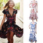 New Women Summer Boho Floral V Neck Long Maxi Dress Party Evening Beach Holiday