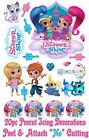 *PRECUT* EDIBLE SHIMMER & SHINE 20pc SET OR LOGO ICING CAKE or CUPCAKE TOPPERS