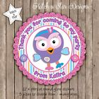 HOOTABELLE BIRTHDAY PERSONALISED SCALLOP CIRCLE GLOSS PARTY STICKERS X 12
