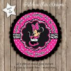 MINNIE MOUSE MAGENTA PERSONALISED ROUND SCALLOP CIRCLE GLOSS PARTY STICKERS X 12