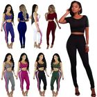 Women Short Sleeve Sportwear Stripe Crop Tops Pants Suits Outfits 2 Pieces Sets