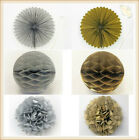 Gold Silver Foil Tissue Paper Pom Poms Fans Tassels Honeycomb Balls Party Decor