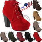 Kyпить NEW Women's Fashion Comfort Stacked Chunky Heel Lace Up Ankle Booties Boots на еВаy.соm