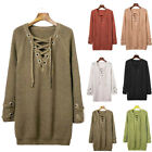Style Women Pullover Jumper Ladies Knit Front Eyelet Lace Up V Neck Top Knitwear