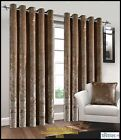 MINK CRUSHED VELVET FAUX SILK PAIR OF EYELET LINED CURTAINS / CUSHION COVER