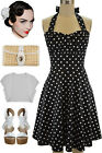 50s Inspired BLACK with White POLKA DOTS Pinup Betty HALTER TOP Sun Dress