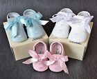 Baby Boys & Girls Spanish Slotted Ribbon Shoes Sizes From 0 (16) Up To 4 (20)