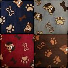 "Dog Faces & Bones -Double Sided- Anti-Pil Polar Fleece Fabric -59"" (150cm) wide"