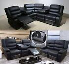 New Valencia Black Bonded Luxury Leather Recliner Sofa With Drinks Holder