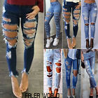 Women Denim Skinny Destroyed Ripped Pants High Waist Jeans Slim Pencil Trousers